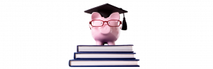 Stack of Books with a pig in a graduation cap on top